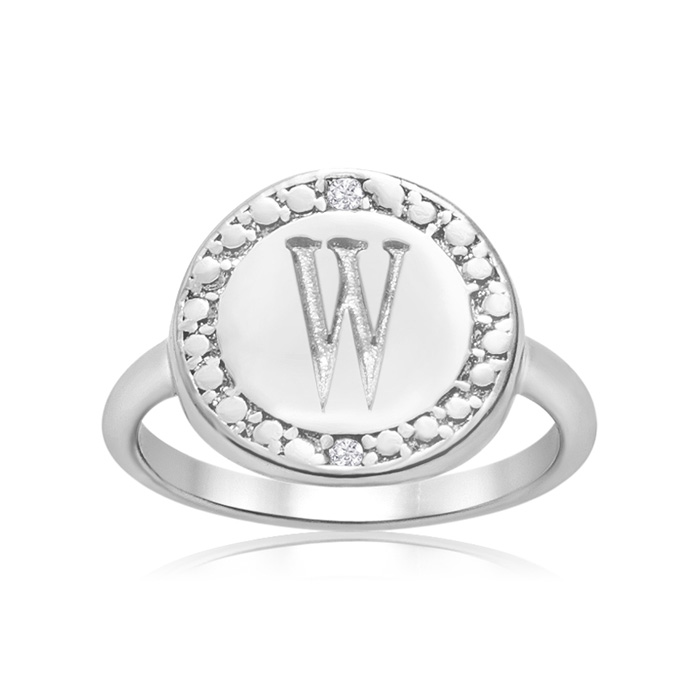 """W"" Initial Diamond Ring In Sterling Silver"