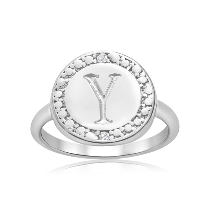 """Y"" Initial Diamond Ring In Sterling Silver"