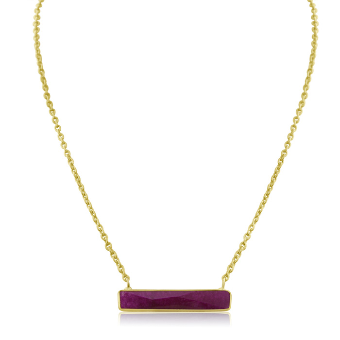 10 Carat Ruby Bar Necklace In Yellow Gold Overlay