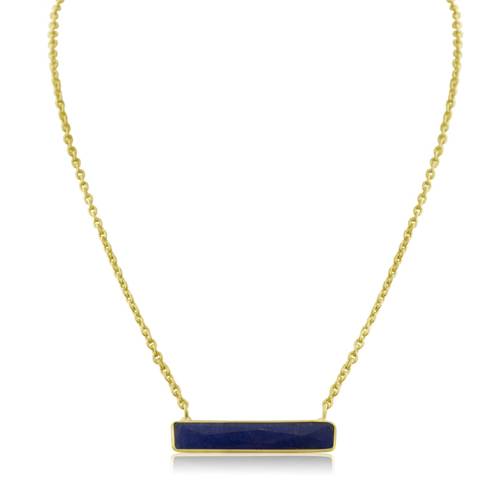 10 Carat Sapphire Bar Necklace In Yellow Gold Overlay