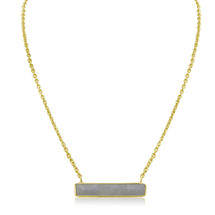 10 Carat Moonstone Bar Necklace In Yellow Gold Overlay