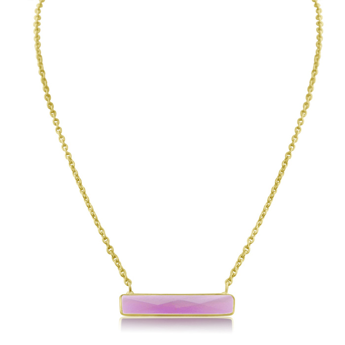 10 Carat Raspberry Quartz Bar Necklace In Yellow Gold Overlay