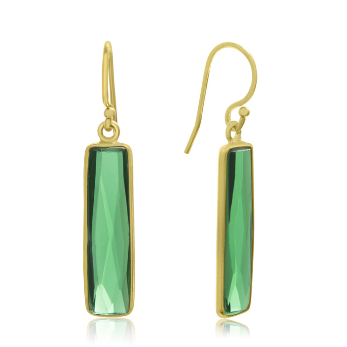 10 Carat Emerald Bar Earrings In 14kt Yellow Gold Overlay 1 Inch