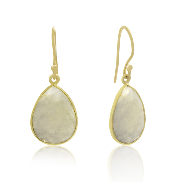 12 Carat Moonstone Teardrop Earrings in 18 Karat Gold Overlay + FREE Matching Necklace!