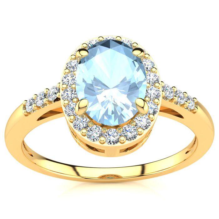 1 Carat Oval Shape Aquamarine and Halo Diamond Ring In 14K Yellow Gold