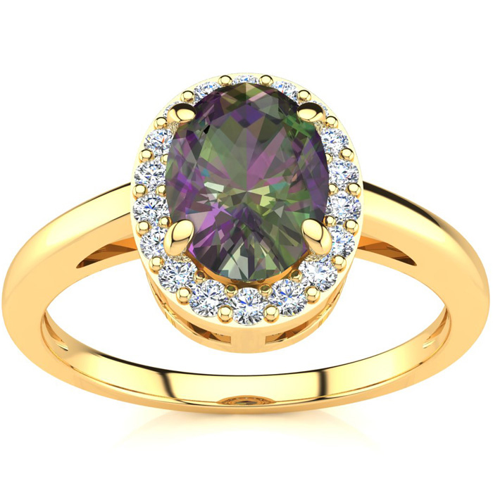 3/4 Carat Oval Shape Mystic Topaz and Halo Diamond Ring In 14K Yellow Gold