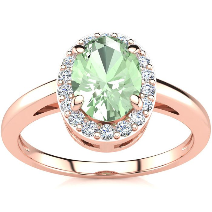 3/4 Carat Oval Shape Green Amethyst and Halo Diamond Ring In 14K Rose Gold