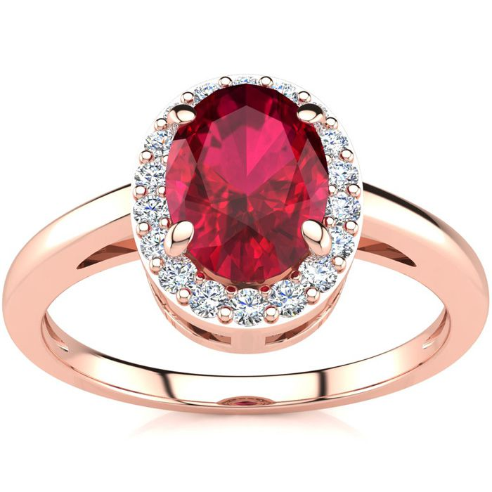 1 Carat Oval Shape Ruby and Halo Diamond Ring In 14K Rose Gold