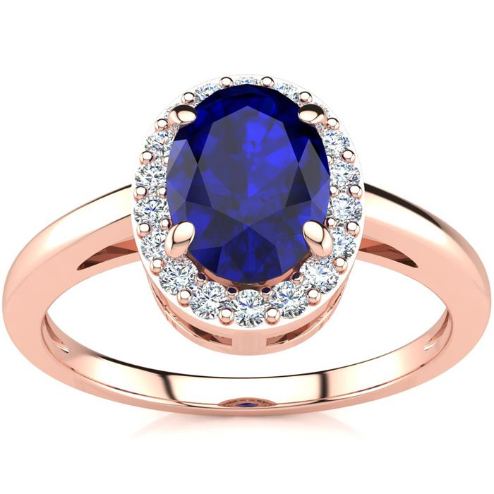 1 Carat Oval Shape Sapphire and Halo Diamond Ring In 14K Rose Gold