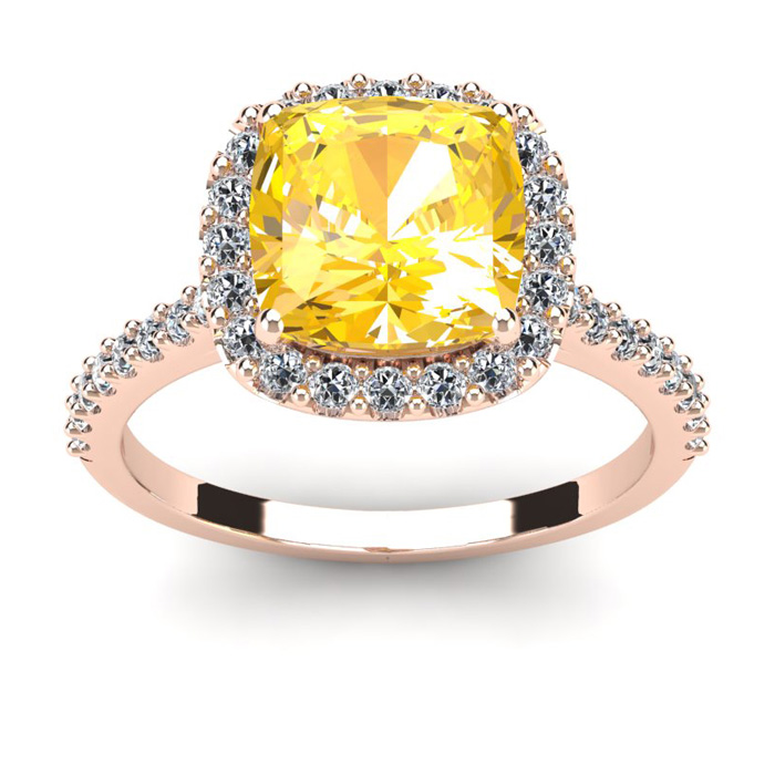 2 1/2 Carat Cushion Cut Citrine and Halo Diamond Ring In 14K Rose Gold