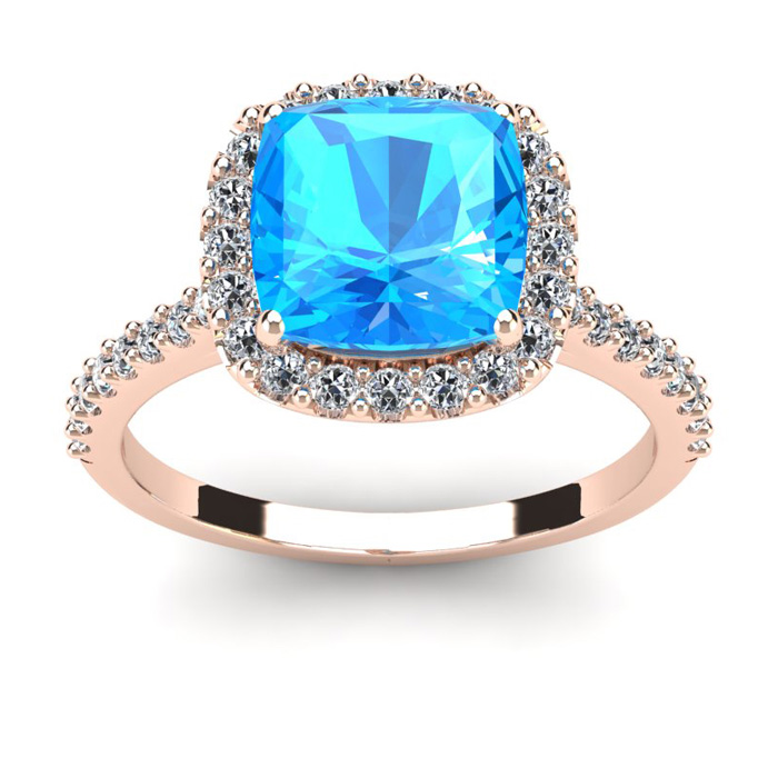 3 Carat Cushion Cut Blue Topaz and Halo Diamond Ring In 14K Rose Gold