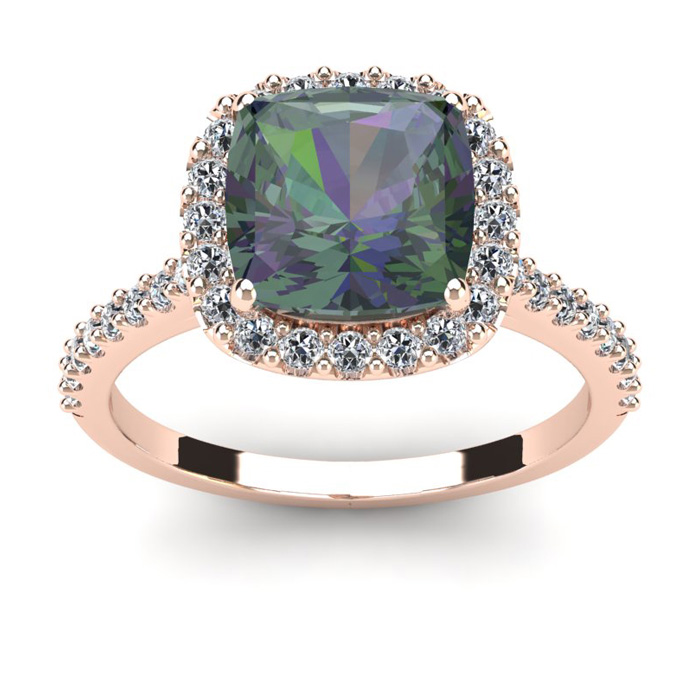 2 1/2 Carat Cushion Cut Mystic Topaz and Halo Diamond Ring In 14K Rose Gold