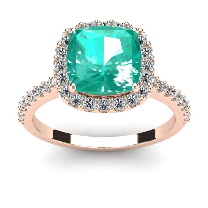 2 1/2 Carat Cushion Cut Emerald and Halo Diamond Ring In 14K Rose Gold