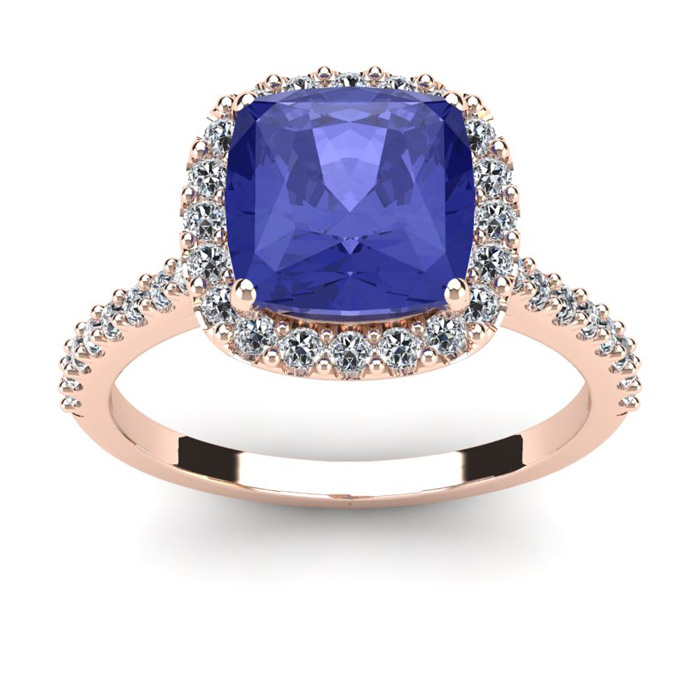 3 Carat Cushion Cut Tanzanite and Halo Diamond Ring In 14K Rose Gold