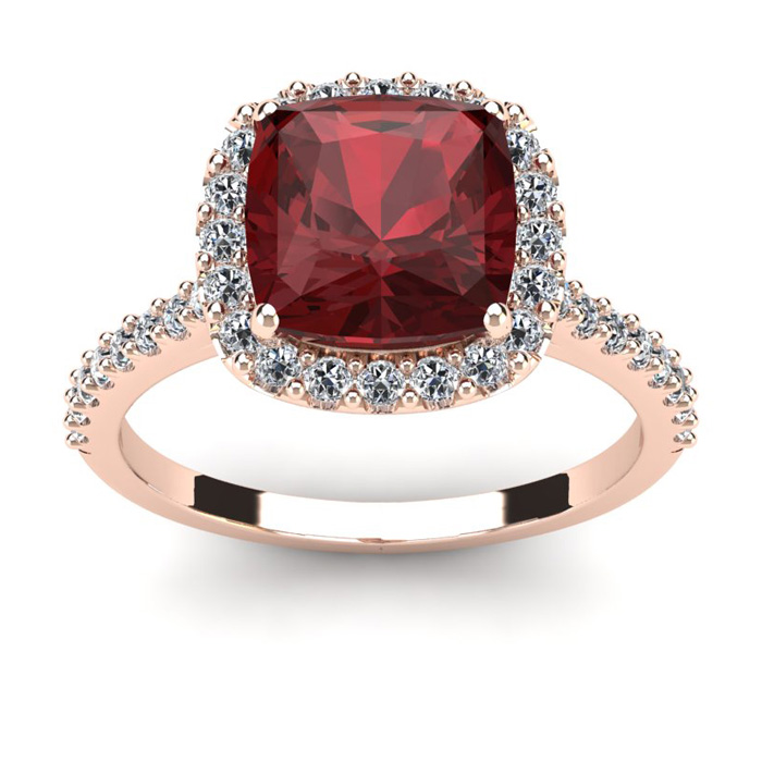 3 3/4 Carat Cushion Cut Garnet and Halo Diamond Ring In 14K Rose Gold