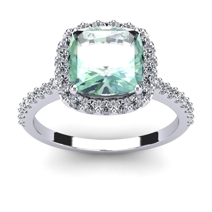 2 1/2 Carat Cushion Cut Green Amethyst and Halo Diamond Ring In 14K White Gold