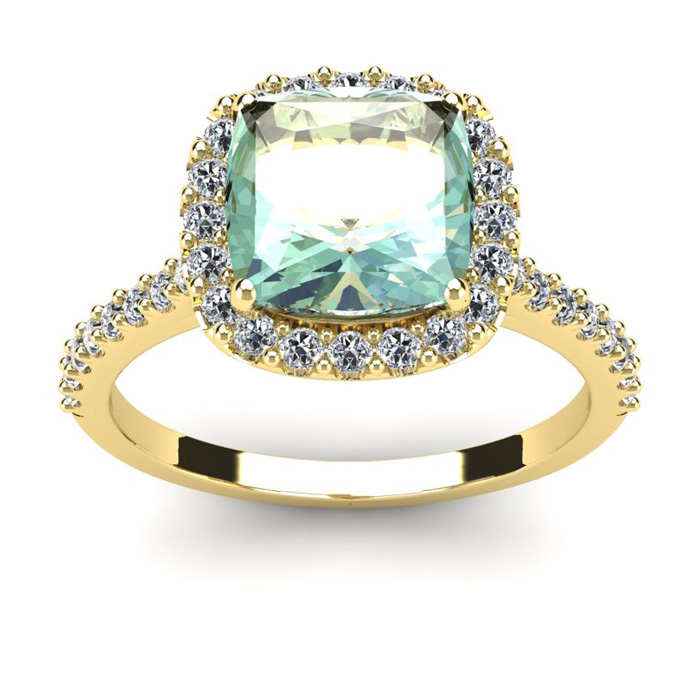 2 1/2 Carat Cushion Cut Green Amethyst and Halo Diamond Ring In 14K Yellow Gold