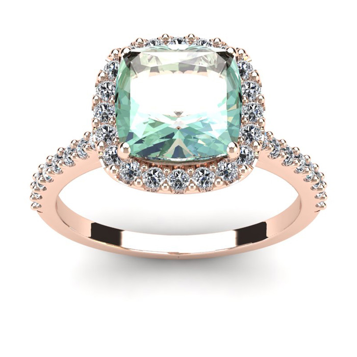2 1/2 Carat Cushion Cut Green Amethyst and Halo Diamond Ring In 14K Rose Gold