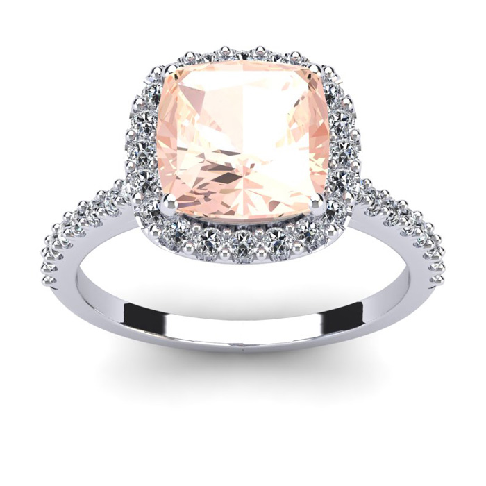 3 1/2 Carat Cushion Cut Morganite and Halo Diamond Ring In 14K White Gold