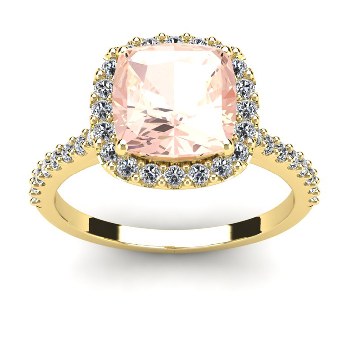 3 1/2 Carat Cushion Cut Morganite and Halo Diamond Ring In 14K Yellow Gold