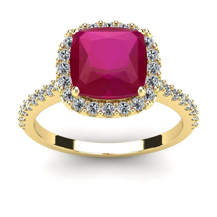 3 1/2 Carat Cushion Cut Ruby and Halo Diamond Ring In 14K Yellow Gold