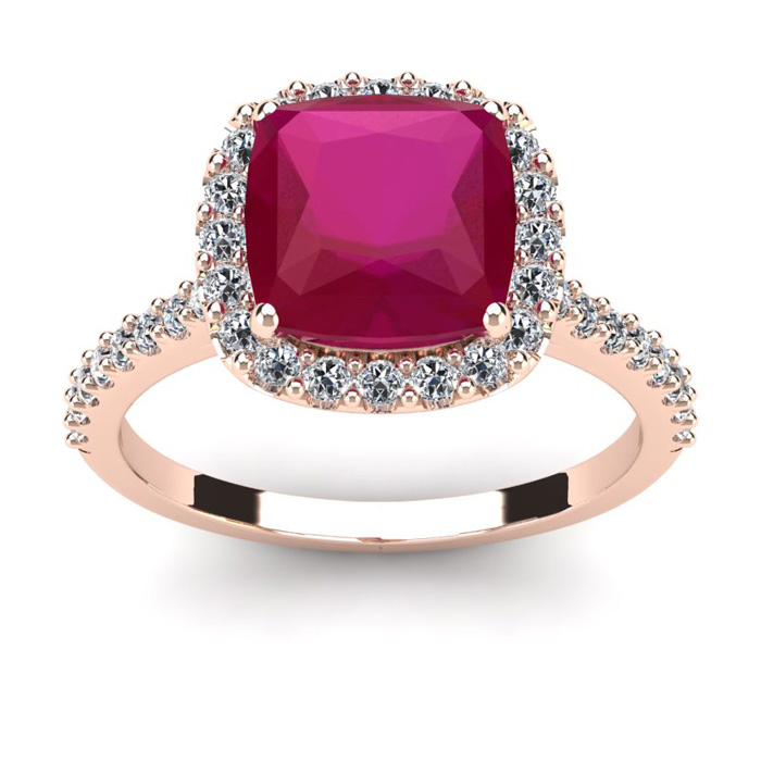 3 1/2 Carat Cushion Cut Ruby and Halo Diamond Ring In 14K Rose Gold