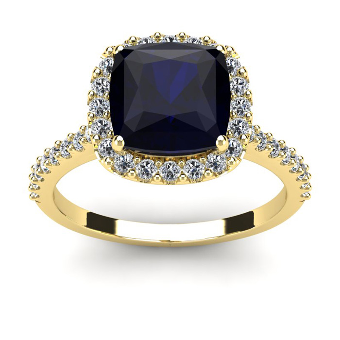3 1/2 Carat Cushion Cut Sapphire and Halo Diamond Ring In 14K Yellow Gold