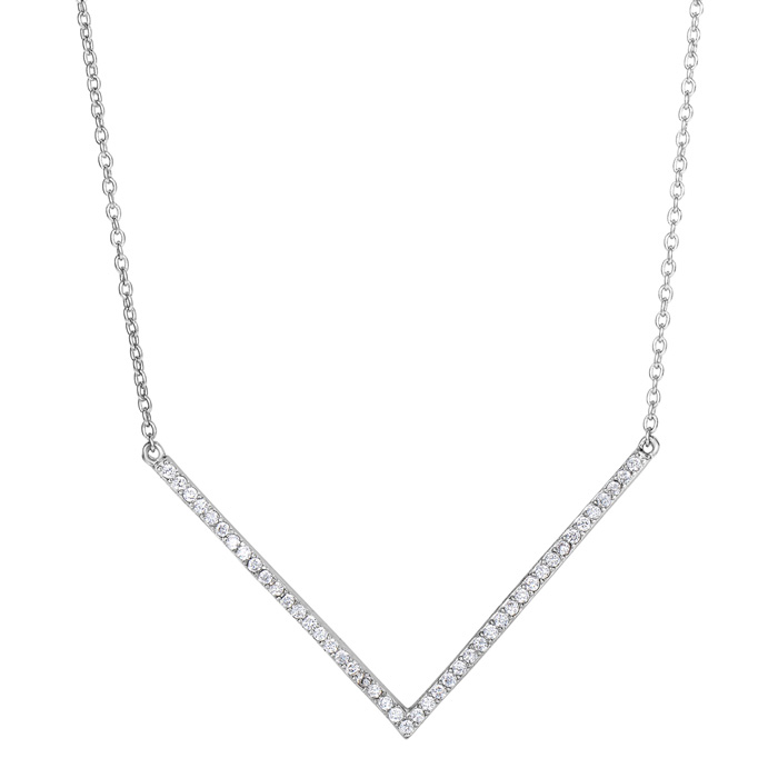 Sterling Silver Cubic Zirconia V Bar Statement Necklace, 18 Inches
