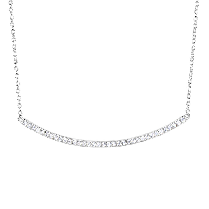 Sterling Silver Cubic Zirconium Curved Bar Dainty Necklace, 18 Inches