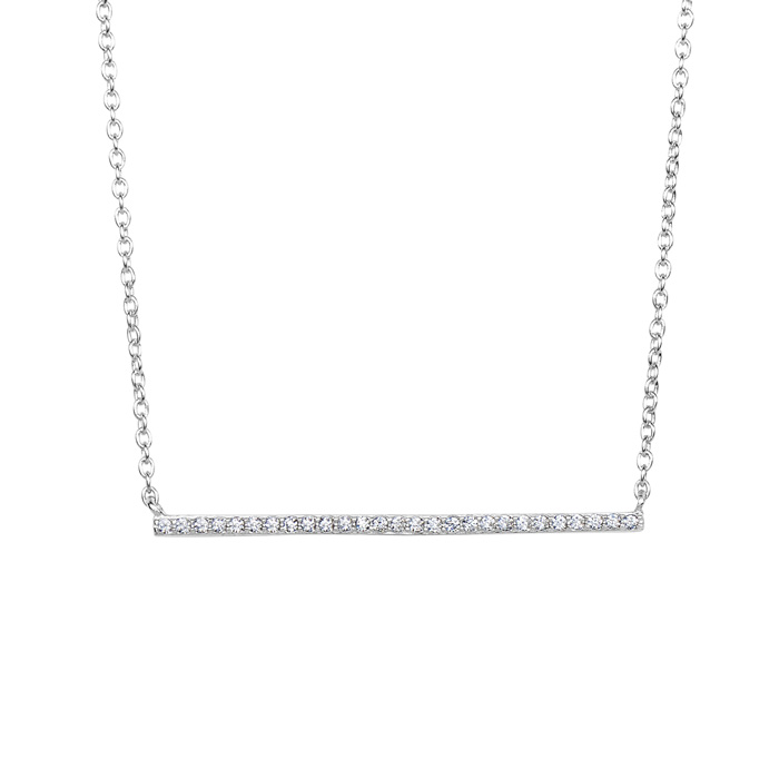 Sterling Silver Cubic Zirconium Dainty Bar Necklace, 18 Inches