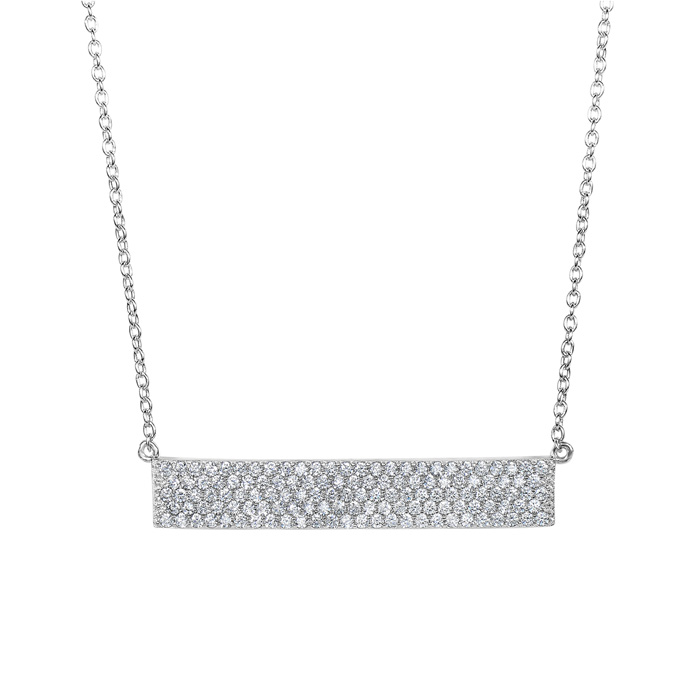 Sterling Silver Cubic Zirconium Statement Bar Necklace, 18 Inches
