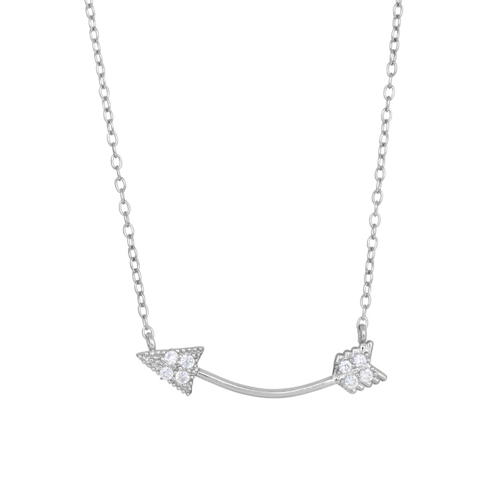 Sterling Silver Cubic Zirconium Curved Cupid's Arrow Necklace, 18 Inches