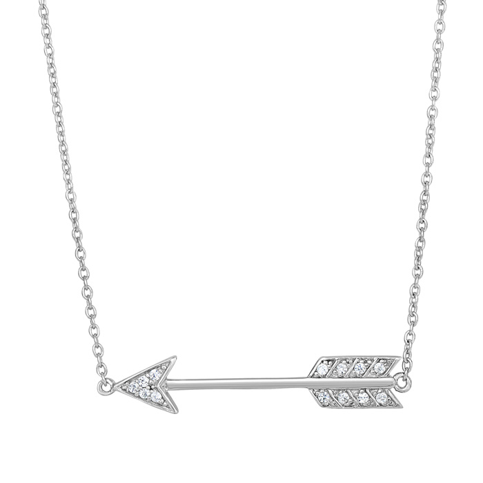 Sterling Silver Cubic Zirconium Cupid's Arrow Necklace, 18 Inches