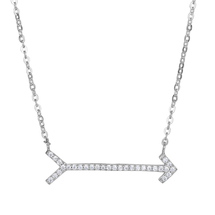 Sterling Silver Cubic Zirconium Arrow Necklace, 18 Inches