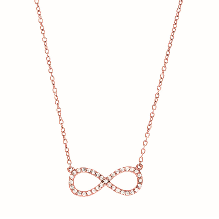Rose Gold Cubic Zirconium Infinity Pendant Necklace