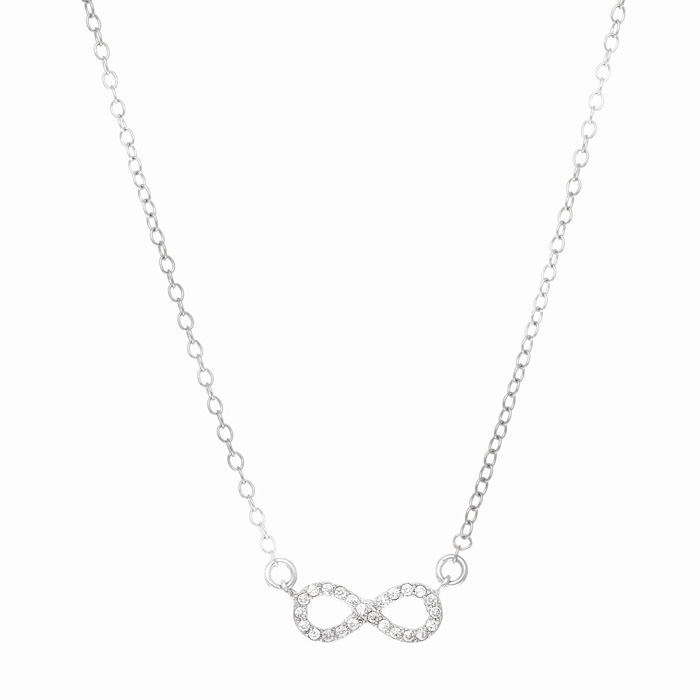 Sterling Silver Cubic Zirconium Delicate Infinity Pendant Necklace