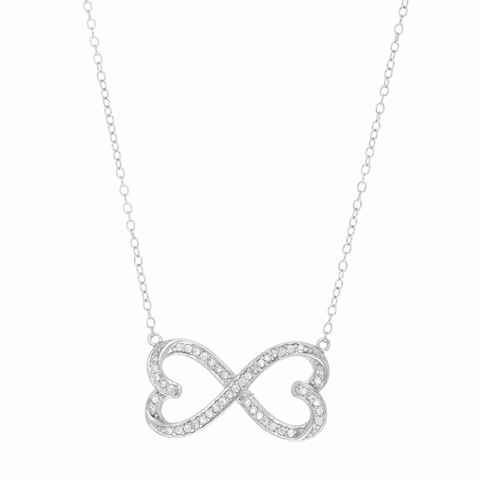 Sterling Silver Cubic Zirconium Two Hearts Become One Necklace, 18 Inches