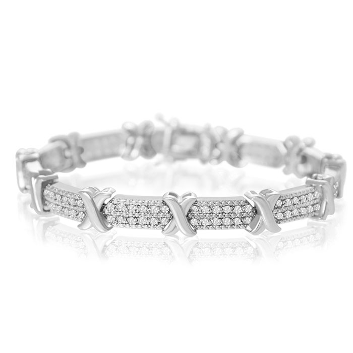 2 Carat Diamond X Tennis Bracelet + FREE Diamond Hoops!