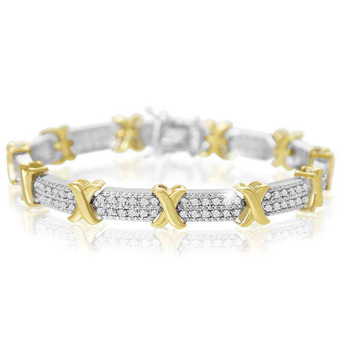 2 Carat Two-Tone Diamond X Tennis Bracelet + FREE Diamond Hoops!