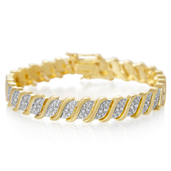 1/3 Carat Classic Diamond Tennis Bracelet In Yellow Gold Overlay