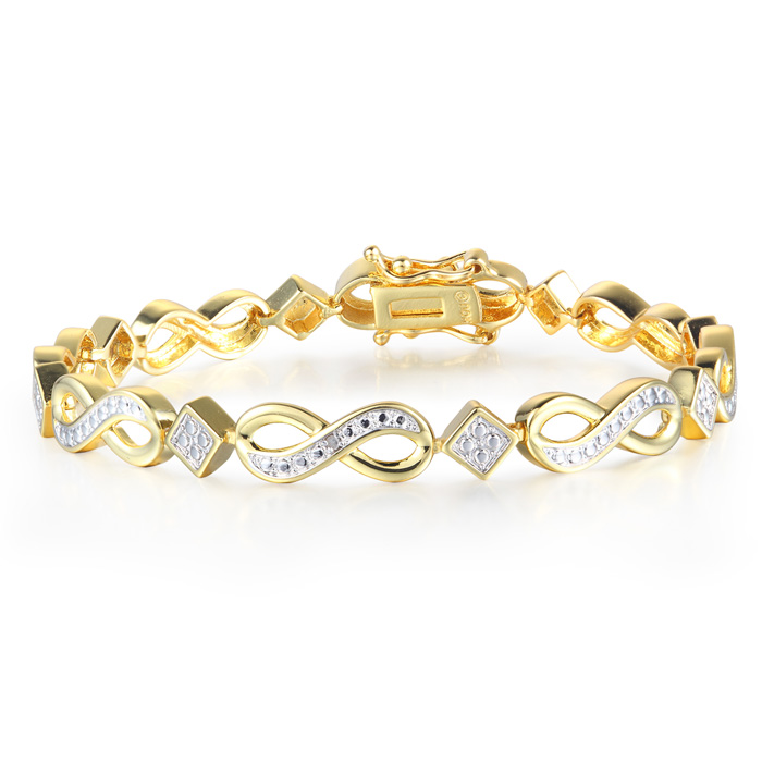 Diamond Infinity Bracelet in Yellow Gold Overlay
