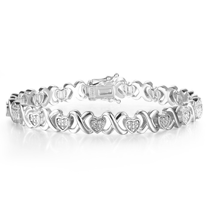 Diamond XO Heart Bracelet in Platinum Overlay