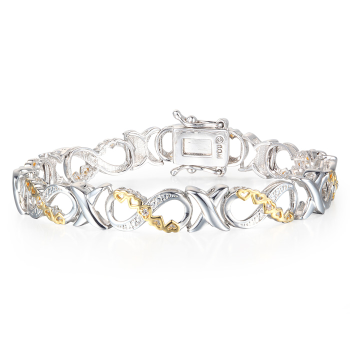 1/10 Carat Diamond XO Infinity Bracelet In Yellow Gold Overlay