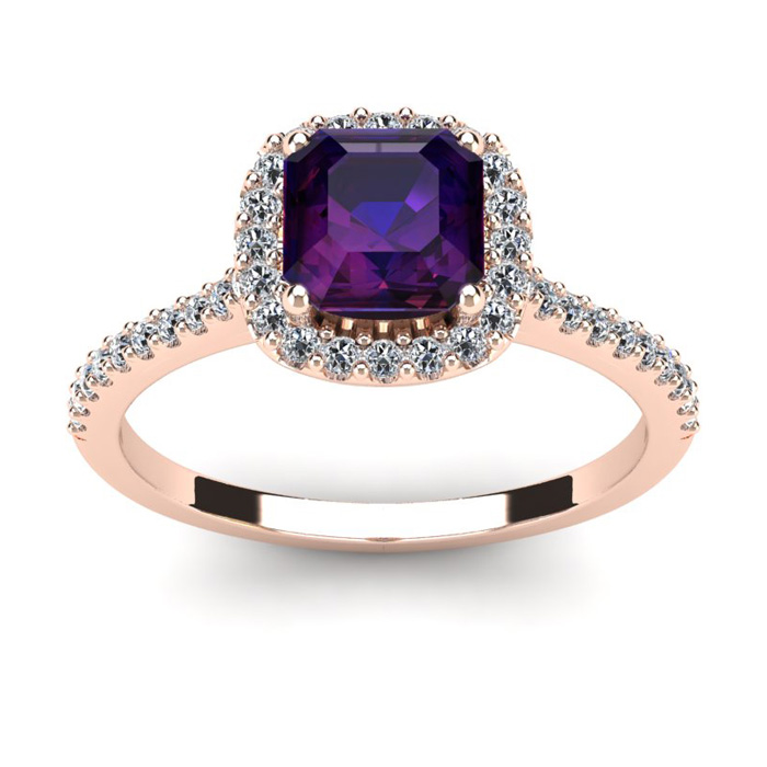 1 Carat Cushion Cut Amethyst And Halo Diamond Ring In 14k Rose Gold