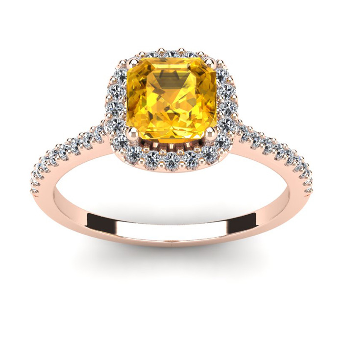 1 Carat Cushion Cut Citrine and Halo Diamond Ring In 14K Rose Gold