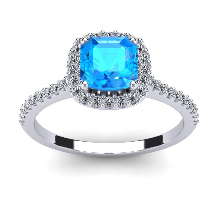 1 1/2 Carat Cushion Cut Blue Topaz and Halo Diamond Ring In 14K White Gold