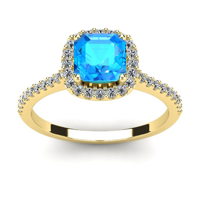 1 1/2 Carat Cushion Cut Blue Topaz and Halo Diamond Ring In 14K Yellow Gold