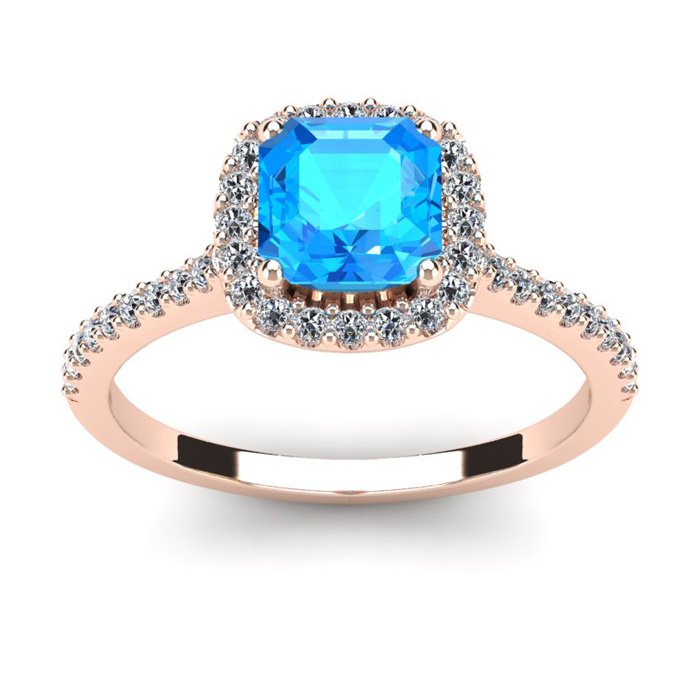 1 1/2 Carat Cushion Cut Blue Topaz and Halo Diamond Ring In 14K Rose Gold