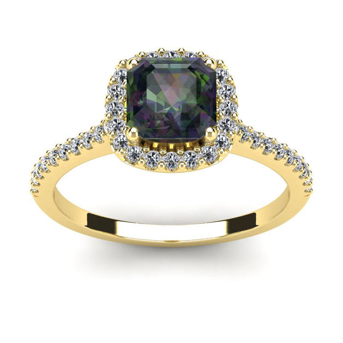 1 1/2 Carat Cushion Cut Mystic Topaz and Halo Diamond Ring In 14K Yellow Gold