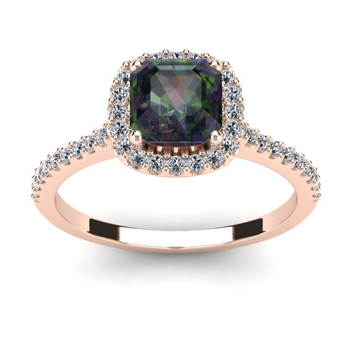 1 1/2 Carat Cushion Cut Mystic Topaz and Halo Diamond Ring In 14K Rose Gold